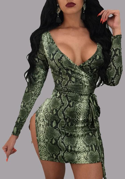 Green Pythnos Grain Print Lace-up Deep V-neck Long Sleeve Club Mini Dress