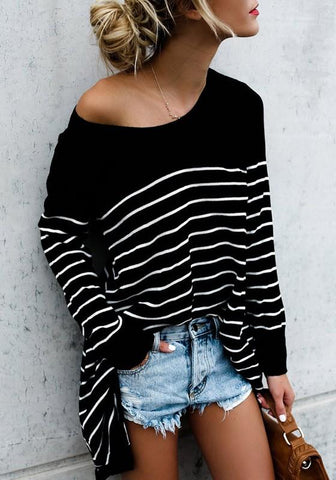 New Black Striped Print Irregular Round Neck Long Sleeve Casual T-Shirt