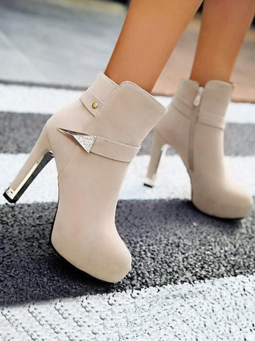 New Apricot Round Toe Chunky Metal Decoration Buckle Fashion Ankle Boots