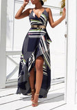 Navy Blue Geometric Print Swallowtail Cross Backl Spaghetti Strap Maxi Dress