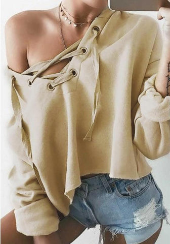 Apricot Drawstring Hooded Long Sleeve Loose Fashion Sweatshirt