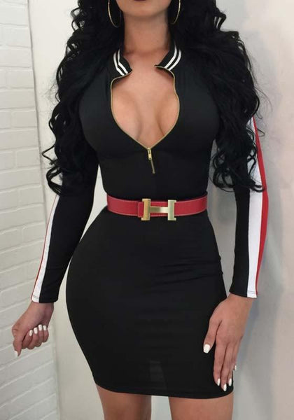 Black Striped Zipper V-Back Neck Long Sleeve Bodycon Party Mini Dress