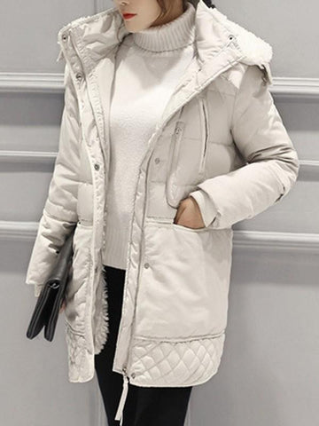 New Beige Patchwork Fur Pockets Single Breasted Zipper Hooded Long Sleeve Casual Coat