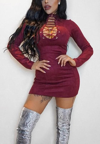 Burgundy Cross Cut Out Lace-up Long Sleeve Bodycon Club Wear Mini Dress