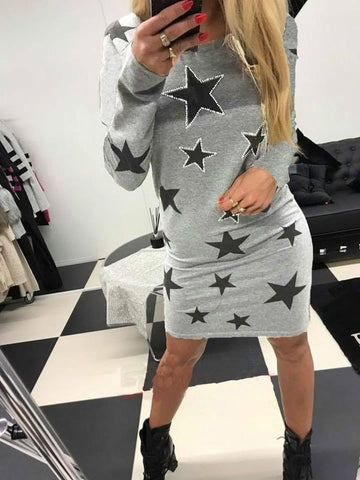 New Grey Galaxy Print Round Neck Long Sleeve Casual Mini Dress