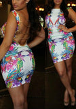White Colorful Print Sequin Chain Open back Bodycon Clubwear Mini Dress