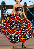 Red Geometric Print Bandeau Two Piece Off Shoulder Vintage Maxi Dress