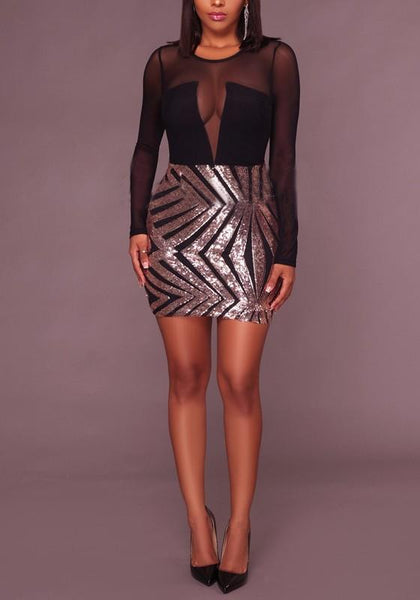 Black And Champagne Patchwork Grenadine Sequin Long Sleeve Bodycon Banquet Party Mini Dress