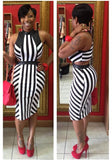 Black-White Striped Cut Out Pencil Zipper Band Collar Club Midi Dress
