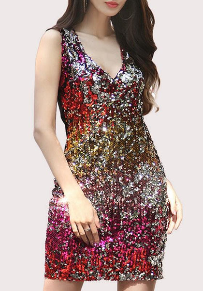 Red Colorful Sequin V-neck Sleeveless Mini Dress
