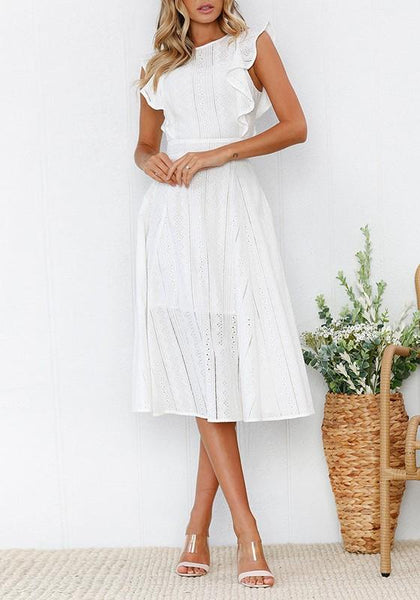 White Lace Round Neck Sleeveless Fashion Midi Dress