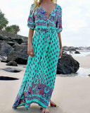 Green Print V Neck Drawcord On Waist Maxi Dress