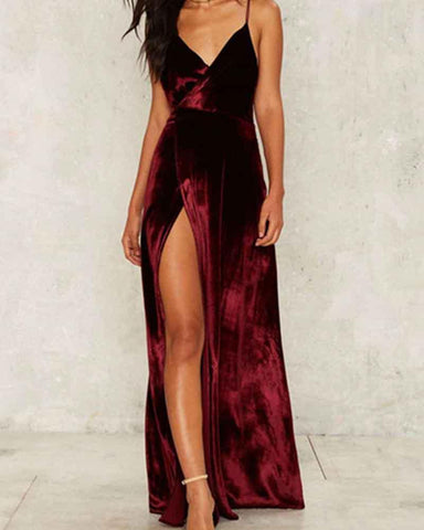 Deep V Neck Velvet Slit Bare Back Cami Dress