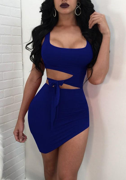 Blue Cut Out Belt Irregular Bodycon Square Neck Homecoming Party Mini Dress