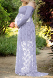 Purple Patchwork Lace Off Shoulder Long Sleeve Baby Shower Maternity Maxi Dress