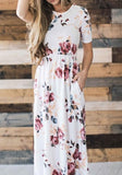 White Floral Print Pockets Round Neck Short Sleeve A-line Fashion Midi Dress