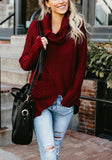 Red Buttons Irregular Slit Cowl Neck Casual Pullover Sweater