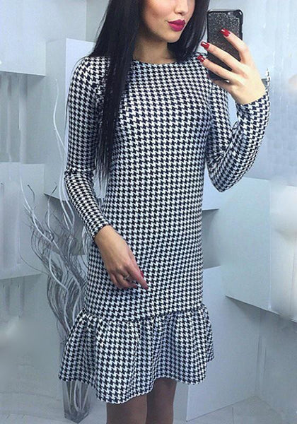 Grey Plaid Ruffle Round Neck Long Sleeve Mini Dress