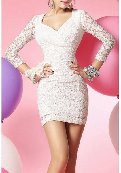 White Patchwork Lace Hollow-out Backless Mini Dress