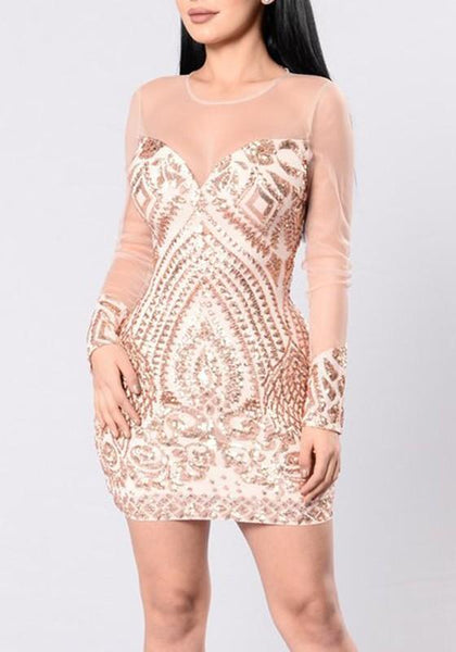 Golden Patchwork Grenadine Sequin Zipper Bodycon Mini Dress