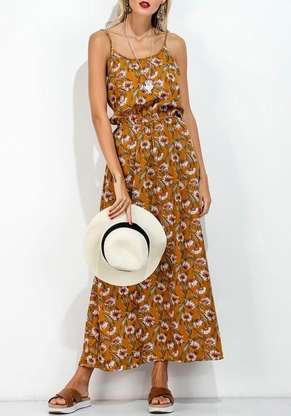 Yellow Flowers Cut Out Spaghetti Strap Open Back Maxi Dress