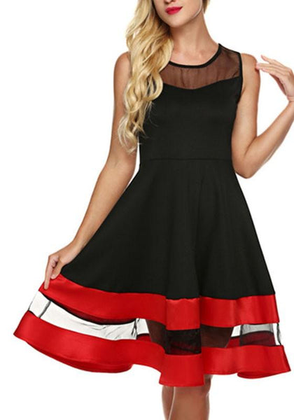 Black Patchwork Grenadine Round Neck Elegant Polyester Midi Dress