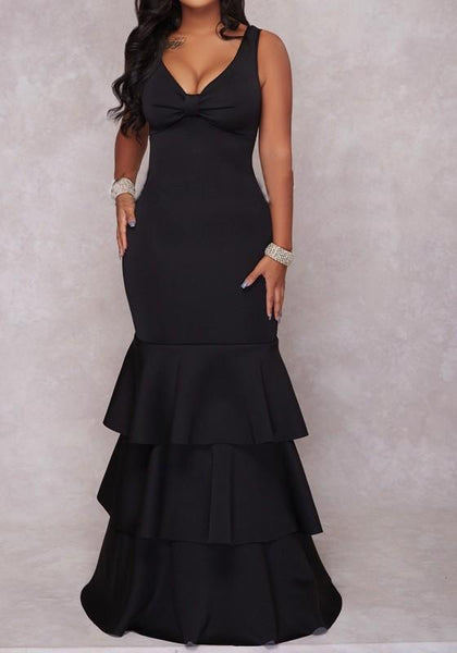 Black Cascading Ruffle Mermaid Plus Size Bodycon V-neck Elegant Prom Party Maxi Dress
