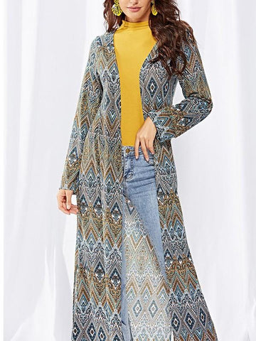 Yellow Tribal Floral Double Slit Long Sleeve Floor Length Fashion Long Outerwear