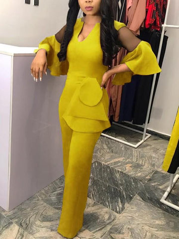 35e045cebb19 New Yellow Cascading Ruffle Grenadine Bell Sleeve V-neck Elegant Party Wide  Leg Palazzo Jumpsuit