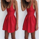 Red Pleated Round Neck Sleeveless Spaghetti Strap Evening Party Tutu Mini Dress