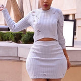 White Ripped Destroyed Long Sleeve High Waisted Knit Clubwear Mini Dress