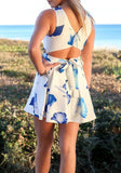 Blue Floral Pleated Zipper Cut Out Belt Mini Dress