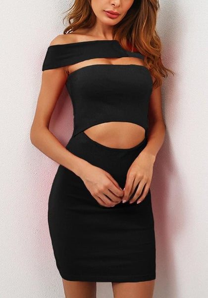 Black Cut Out Crop Boat Neck Short Sleeve Mini Dress
