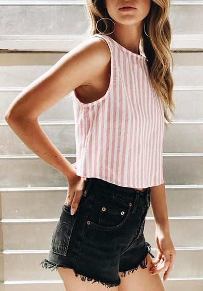 Pink-White Striped Print Cut Out Open Back Blouse