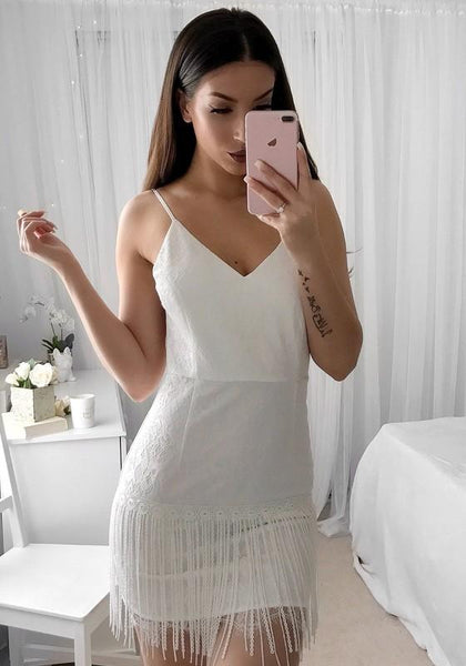 White Patchwork Condole Belt Tassel Zipper V-neck Mini Dress