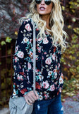 Navy Blue Floral Drawstring V-neck Long Sleeve Fashion Blouse