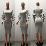 Grey Cascading Ruffle Grenadine Bodycon Banquet High Neck Party Midi Dress