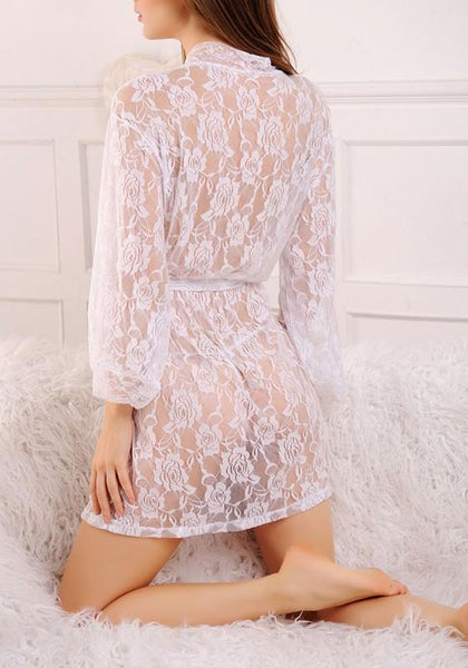 White Floral Hollow-out Lace Sashes Pajamas Mini Dress
