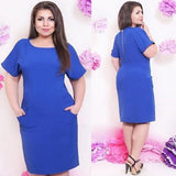 Purplish Blue Zipper Pockets Round Neck Short Sleeve Plus Szie Midi Dress