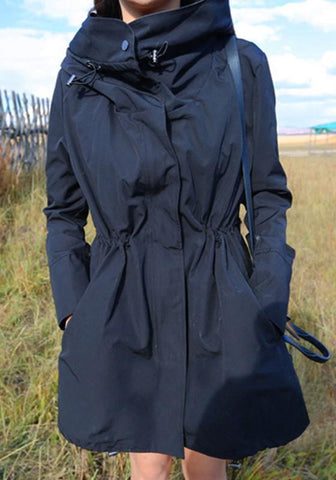 New Black Pockets Drawstring Zipper Hooded Long Sleeve Trench Coat