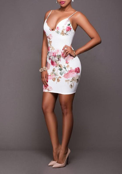 White Floral Print Spaghetti Straps Backless Bodycon Homecoming Mini Dress