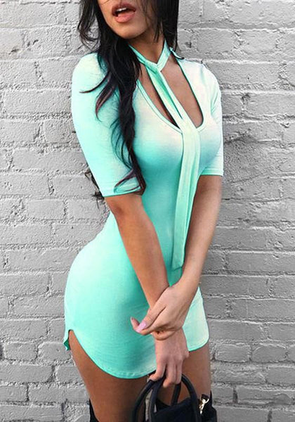 Light Blue Wrap Scoop Neck Half Sleeve Clubwear Bodycon Mini Dress