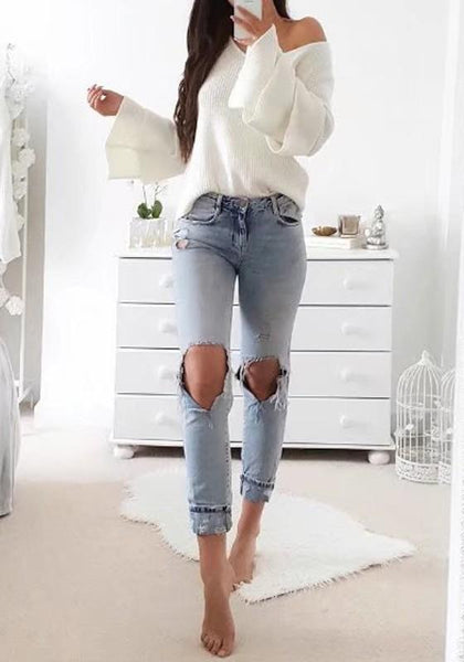 White Patchwork Draped V-neck Long Sleeve Fashion Sweater