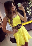 Yellow Patchwork Condole Belt Hollow-out Mini Dress