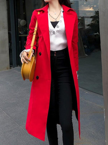New Red Pockets Sashes Turndown Collar Long Sleeve Elegant Coat