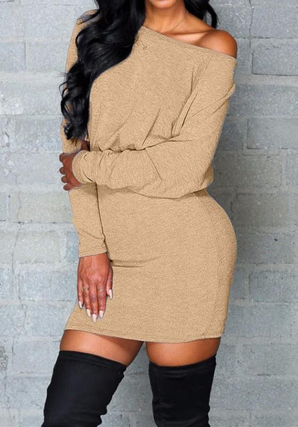 Khaki Plain Round Neck Long Sleeve Mini Dress