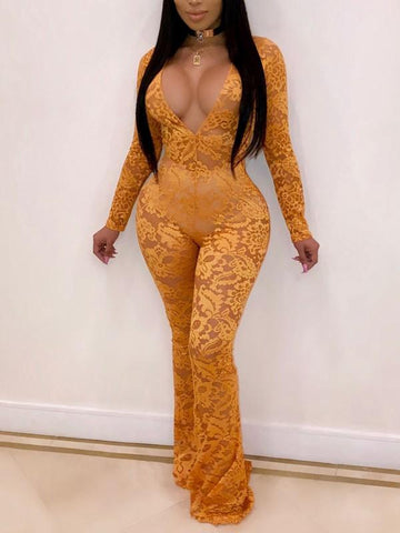 New Yellow Patchwork Lace Bodycon Sheer Deep V-neck Long Sleeve Party Jumpsuit