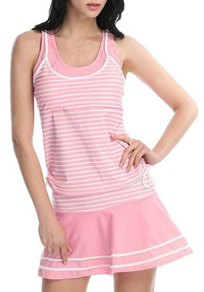 Pink Striped Round Neck Sleeveless Mini Dress