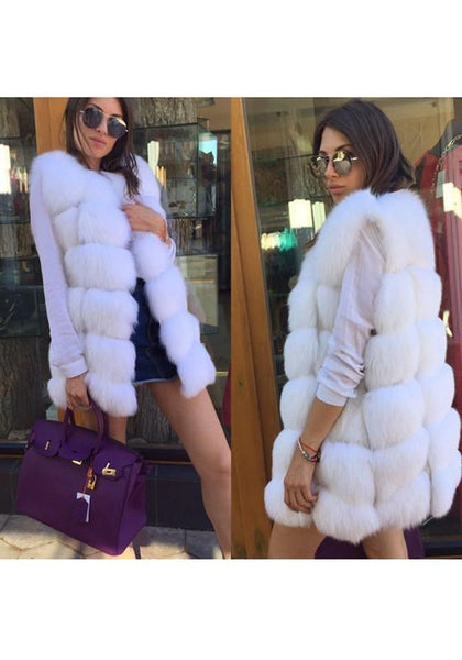 White Irregular Round Neck Sleeveless Fashion Fur Vest Coat
