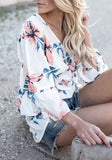 White Floral Print Cut Out Backless Deep V-neck Going out T-Shirt